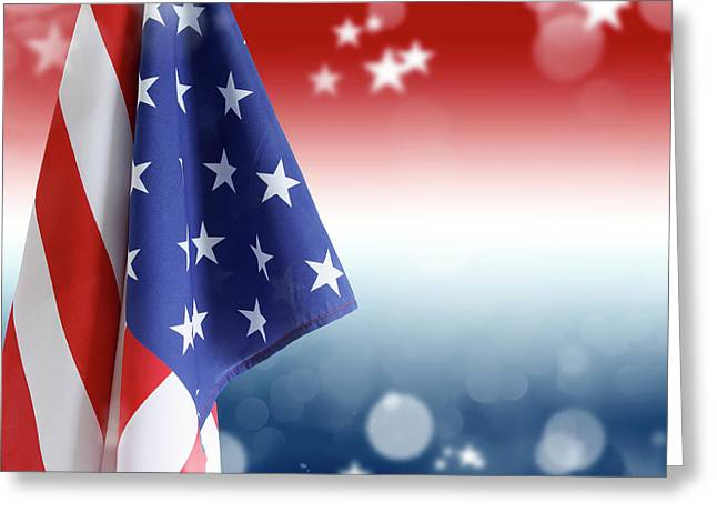 Red White And Blue Greeting Card by Les Cunliffe