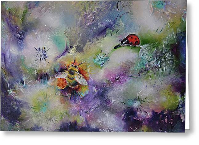 Rendezvous, Ladybug And Bumble-bee On Dandelions  Greeting Card