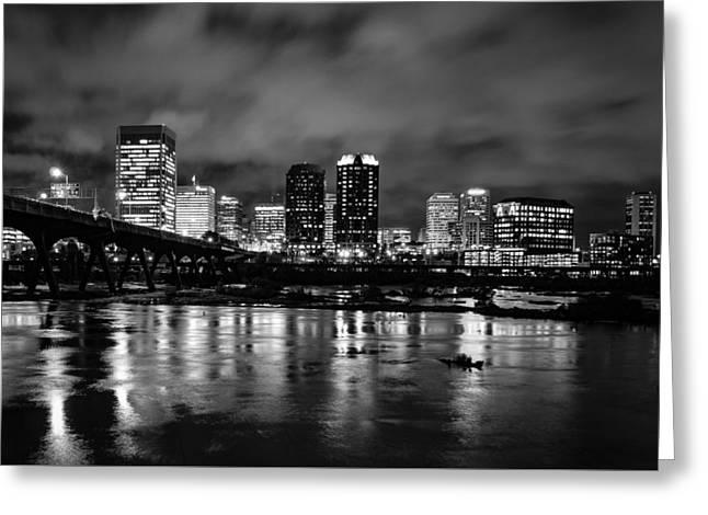 Richmond Skyline At Night Greeting Card
