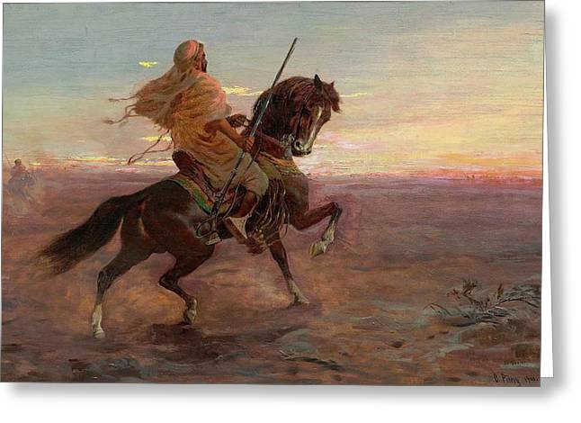 Rider In The Desert Greeting Card
