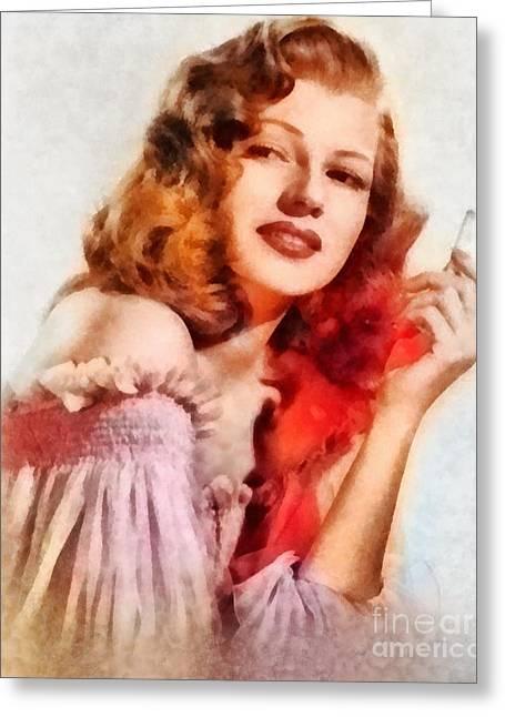 Rita Hayworth, Vintage Hollywood Actress Greeting Card by Frank Falcon