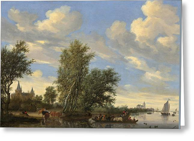 River Landscape With Ferry Greeting Card
