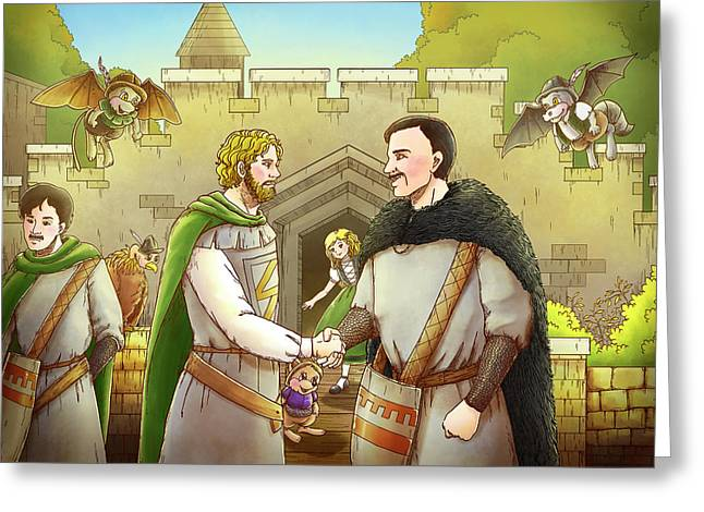 Robin Hood And The Captain Of The Guard Greeting Card