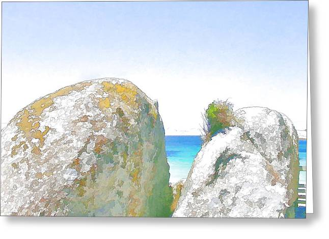 2 Rocks By The Sea Greeting Card by Jan Hattingh