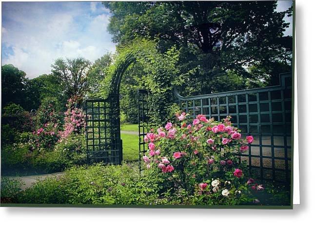 Rose Garden Gate Greeting Card by Jessica Jenney