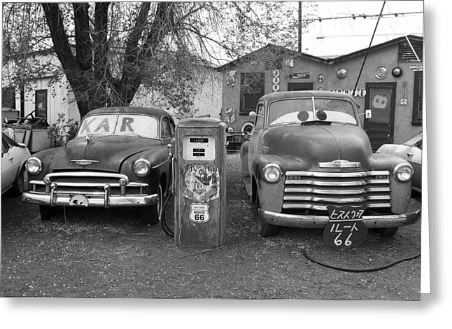 Route 66 - Snow Cap Drive-in Greeting Card by Frank Romeo