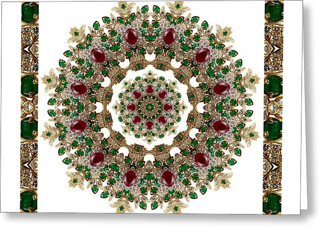 Ruby And Emerald Kaleidoscope Greeting Card
