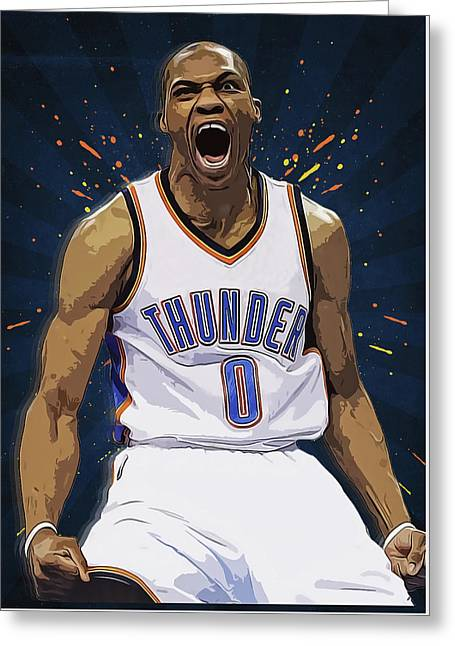 Russell Westbrook Greeting Card by Semih Yurdabak