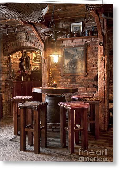 Rustic Restaurant Seating Greeting Card by Jaak Nilson