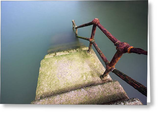 Rusty Handrail Going Down On Water Greeting Card