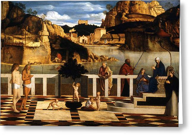 Sacred Allegory Greeting Card by Giovanni Bellini