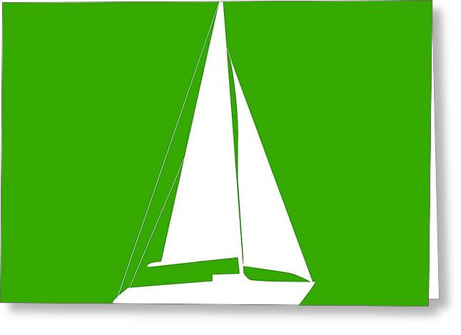 Sailboat In Green And White Greeting Card