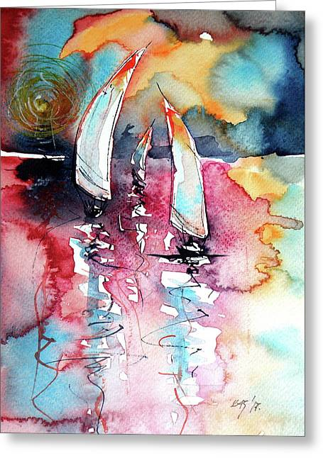 Greeting Card featuring the painting Sailboats by Kovacs Anna Brigitta