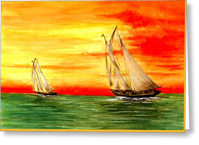 2 Sailboats Greeting Card by Michael Vigliotti