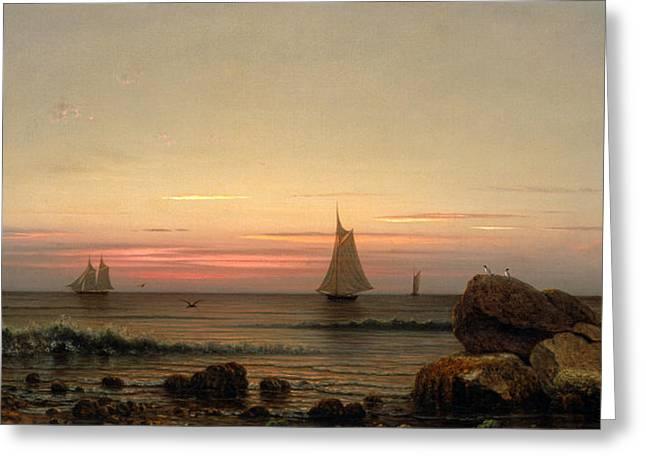 Sailing Off The Coast Greeting Card by Martin Johnson Heade