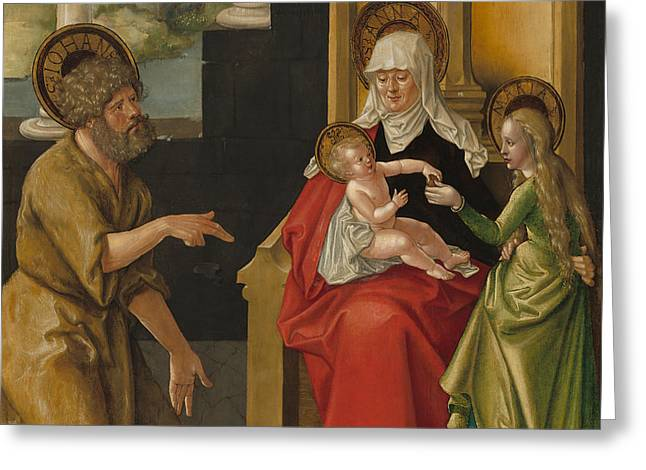 Saint Anne With The Christ Child, The Virgin, And Saint John The Baptist Greeting Card by Hans Baldung Grien