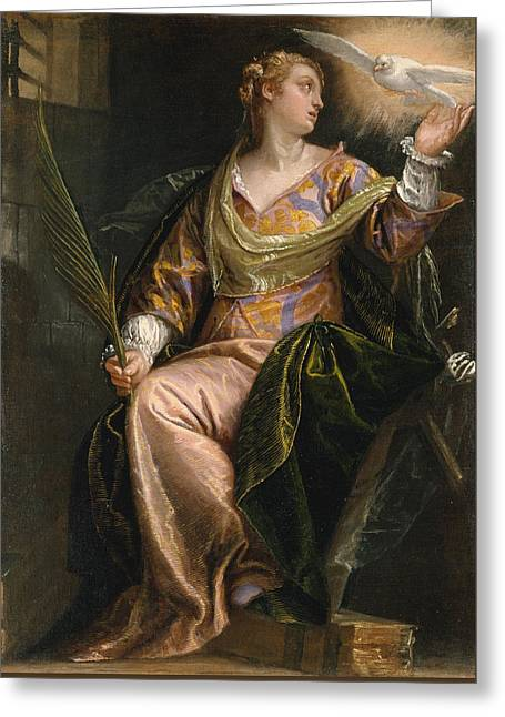 Saint Catherine Of Alexandria In Prison Greeting Card