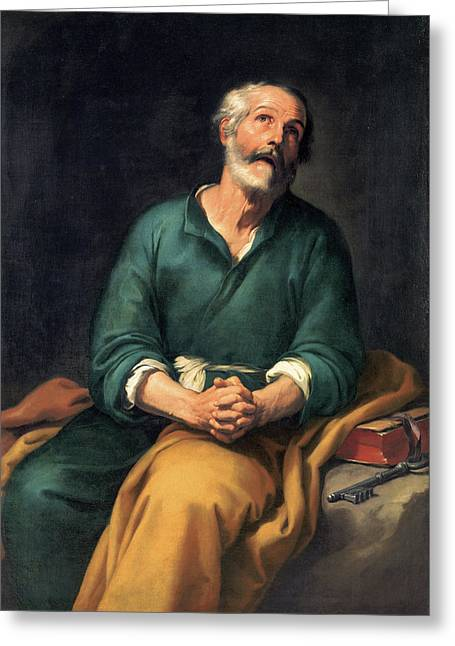 Saint Peter In Tears Greeting Card by Bartolome Esteban Murillo