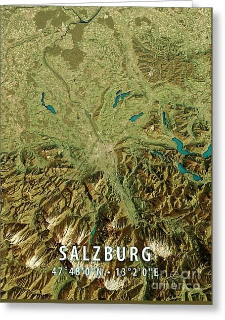 Salzburg 3d Render Satellite View Topographic Map Greeting Card