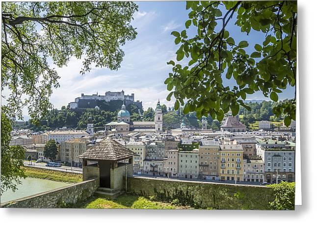 Salzburg Gorgeous Old Town With Citywall Greeting Card