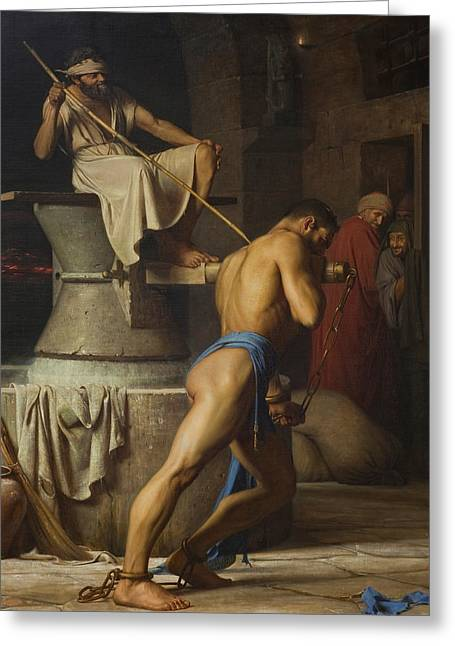 Samson And The Philistines Greeting Card by Carl Bloch