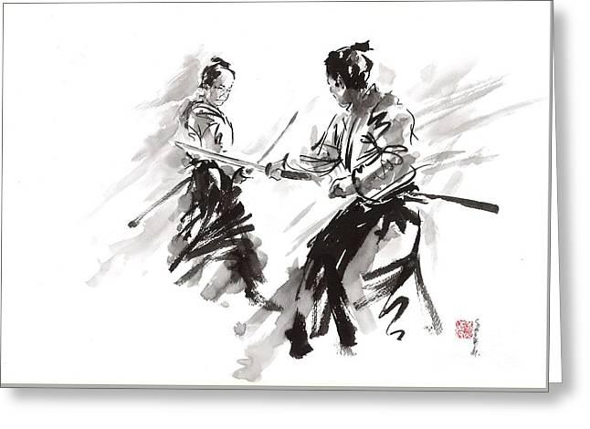 Samurai Fight Greeting Card