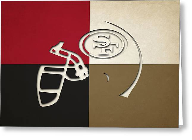 San Francisco 49ers Helmet Greeting Card by Joe Hamilton