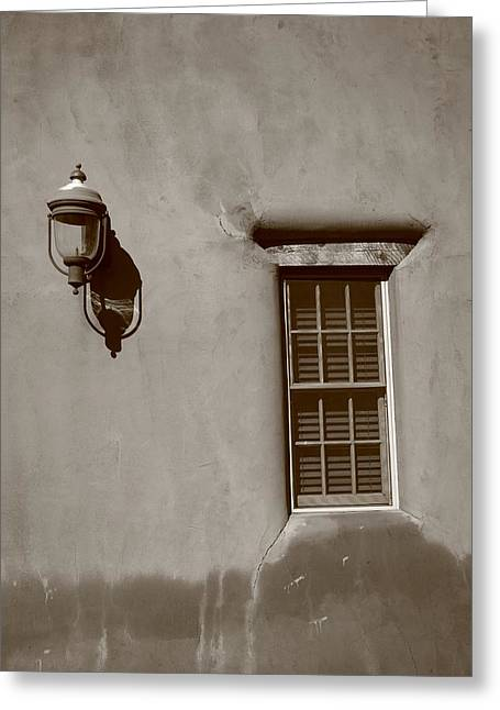 Adobe Greeting Cards - Santa Fe - Adobe Window and Light Greeting Card by Frank Romeo