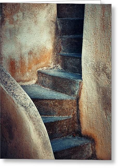 Santorini Island Stairs Greeting Card by Songquan Deng