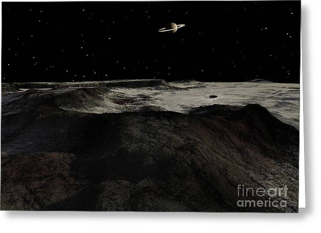Saturn Seen From The Surface Greeting Card by Ron Miller
