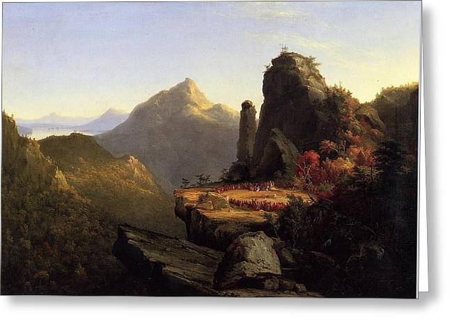 Scene From The Last Of The Mohicans Greeting Card by Thomas Cole