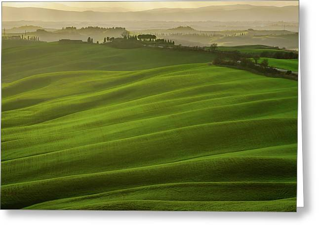 Scenic View Of A Tuscany Countryside Near Siena, Italy Greeting Card