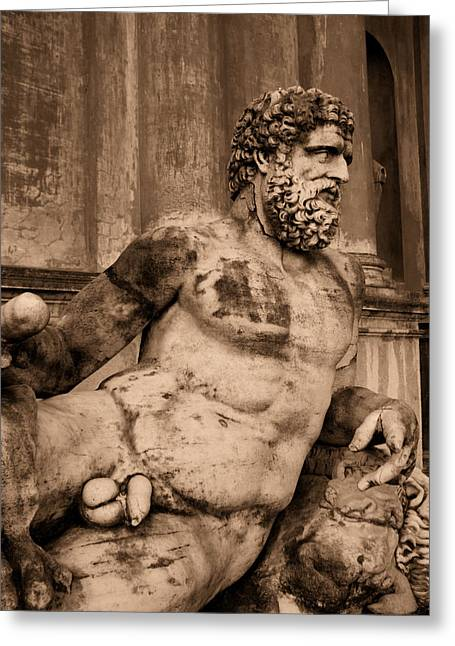 Sculpture Vatican Museum Rome Italy Greeting Card by Wayne Higgs