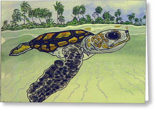 Sea Turtle Baby Greeting Card by W Gilroy