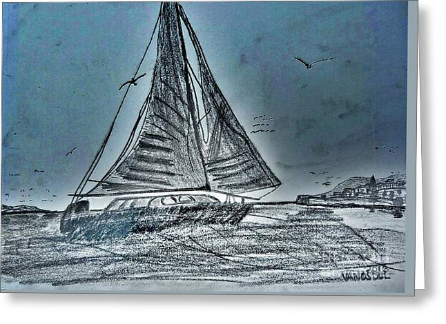 Seascape Sailing Greeting Card by Scott D Van Osdol