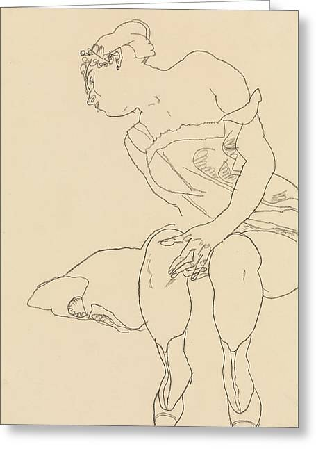 Seated Woman In Corset And Boots Greeting Card