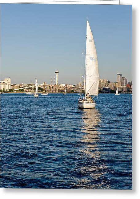 Seattle Sailing Greeting Card by Tom Dowd