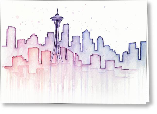 Seattle Skyline Watercolor Greeting Card by Olga Shvartsur