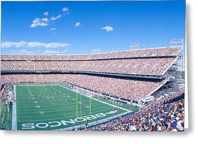 Sell-out Crowd At Mile High Stadium Greeting Card by Panoramic Images