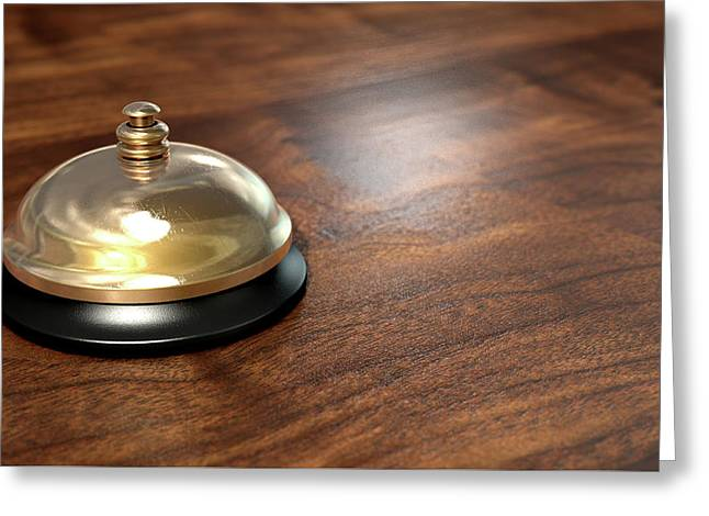 Service Bell Brass Greeting Card