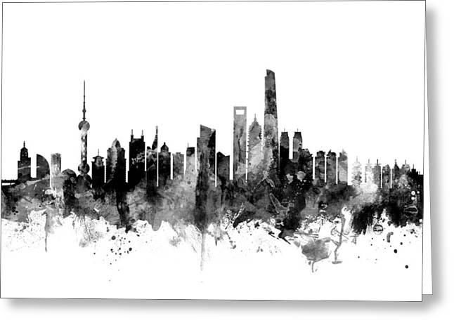 Shanghai China Skyline Greeting Card by Michael Tompsett