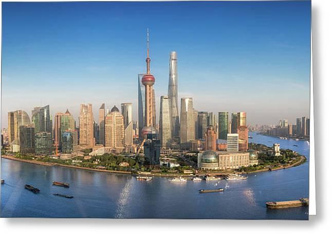 Shanghai Skyline With Modern Urban Skyscrapers Greeting Card by Anek Suwannaphoom