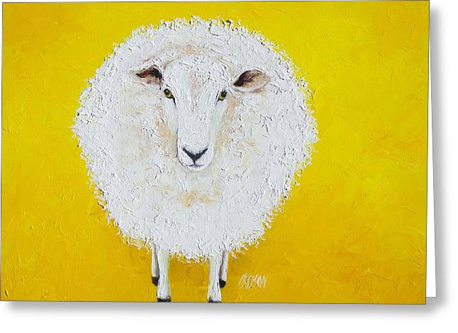 Sheep Painting On Yellow Background Greeting Card by Jan Matson