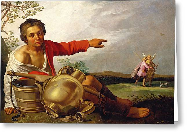 Shepherd Boy Pointing At Tobias And The Angel Greeting Card by Abraham Bloemaert