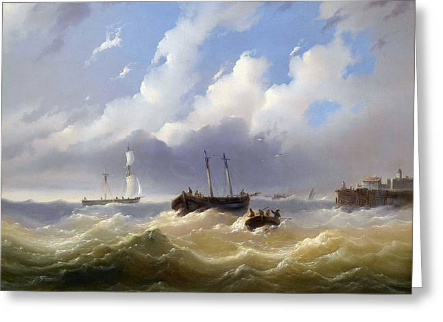 Ships On A Stormy Sea Greeting Card by MotionAge Designs