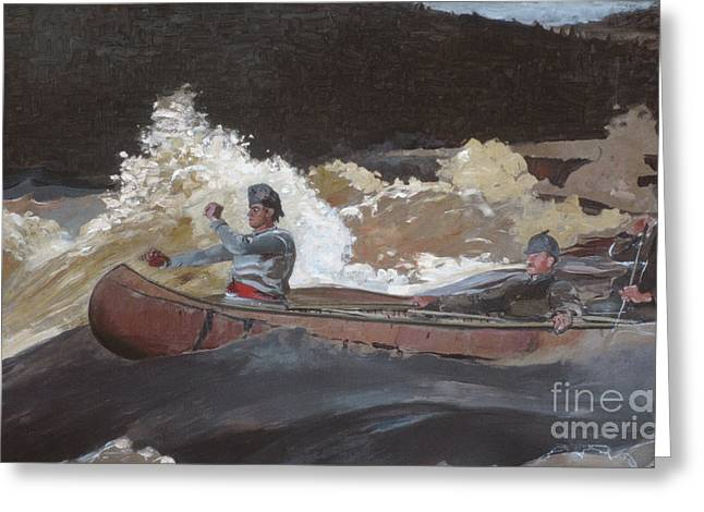 Shooting The Rapids, Saguenay River Greeting Card by Winslow Homer