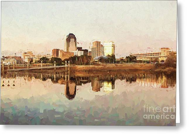 Shreveport Cityscape - Digital Painting Greeting Card