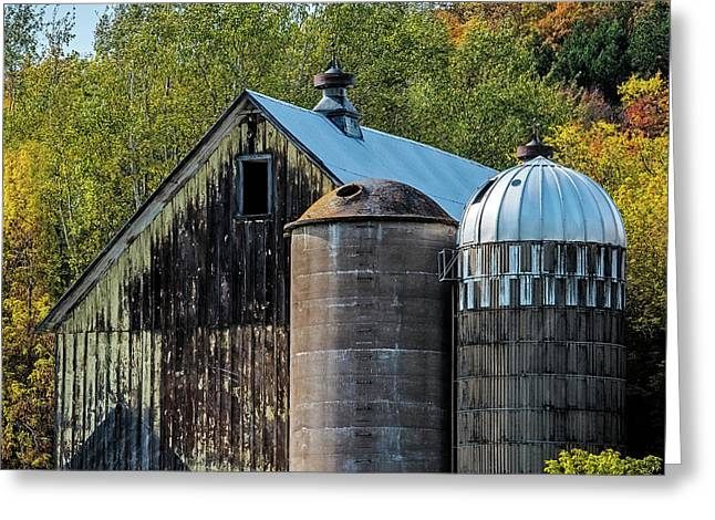 2 Silos And A Barn Greeting Card