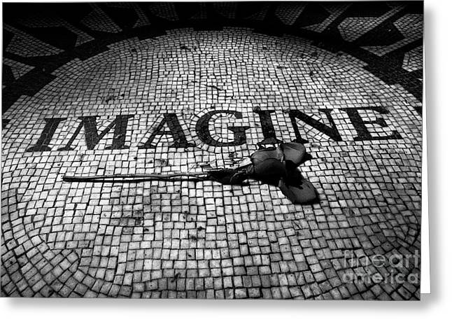 single red rose on the imagine mosaic dedicated to John Lennon in central park New York City USA Greeting Card