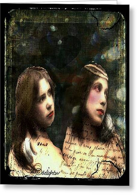 Greeting Card featuring the digital art Two Sisters by Delight Worthyn